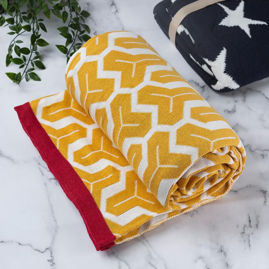 بطانية شال صوف لون أصفر