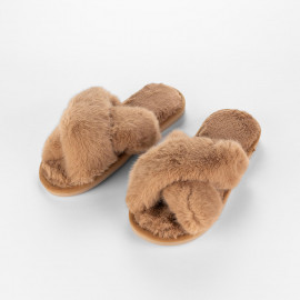 Women's Cozy Slippers Beige Faux Fur
