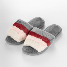 Women's Cozy Slippers Dark Grey and Burgundy Faux Fur