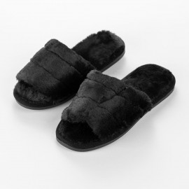 Women's Cozy Slippers Black Faux Fur