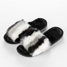Women's Cozy Slippers Dark Grey and White Faux Fur