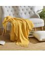 بطانية شال خفيفة لون أصفر