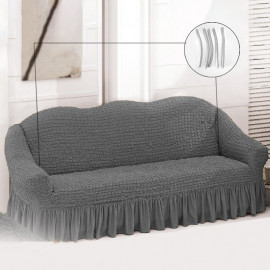 High Stretch Three-seater Sofa Slipcover Grey