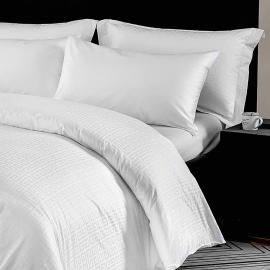 Hotel Greek Key Pattern Bedding Double White 500-TC Cotton 7-PCS