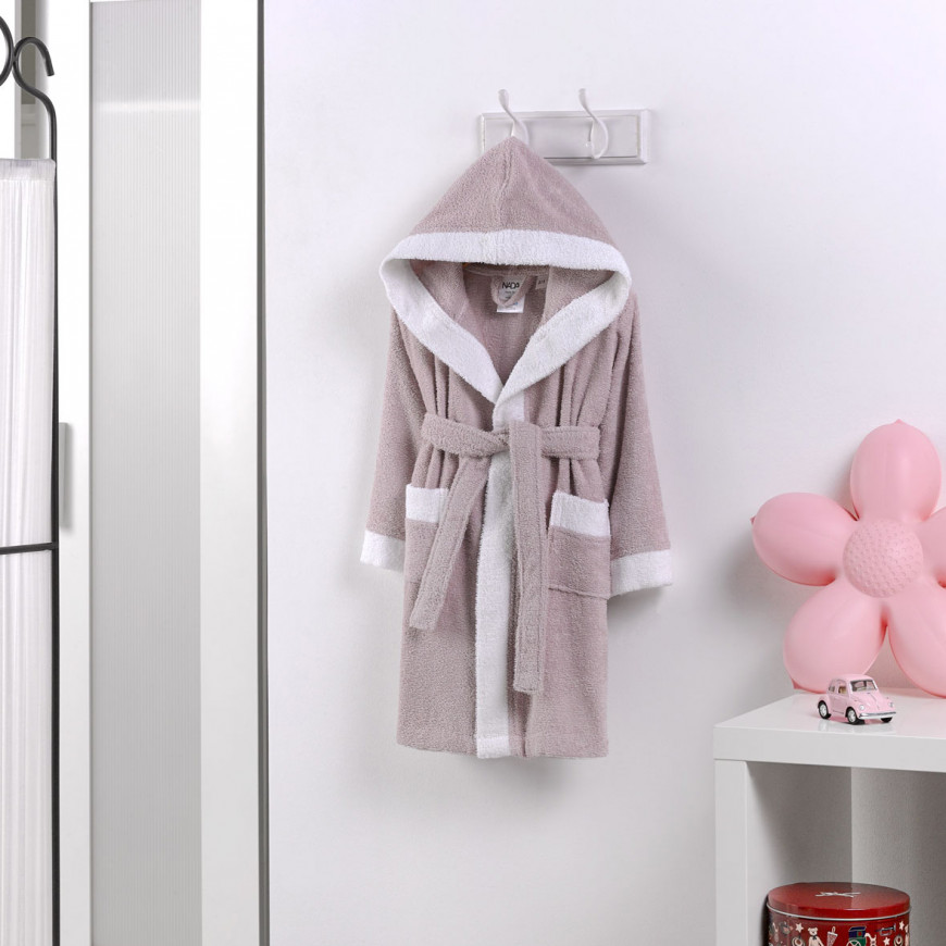 Hooded Kids Bath Robe Belted Cotton Lilac