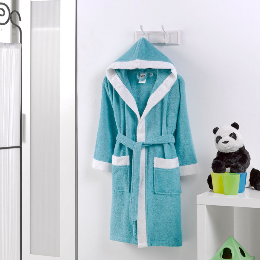 Hooded Kids Bath Robe Cotton Turquoise