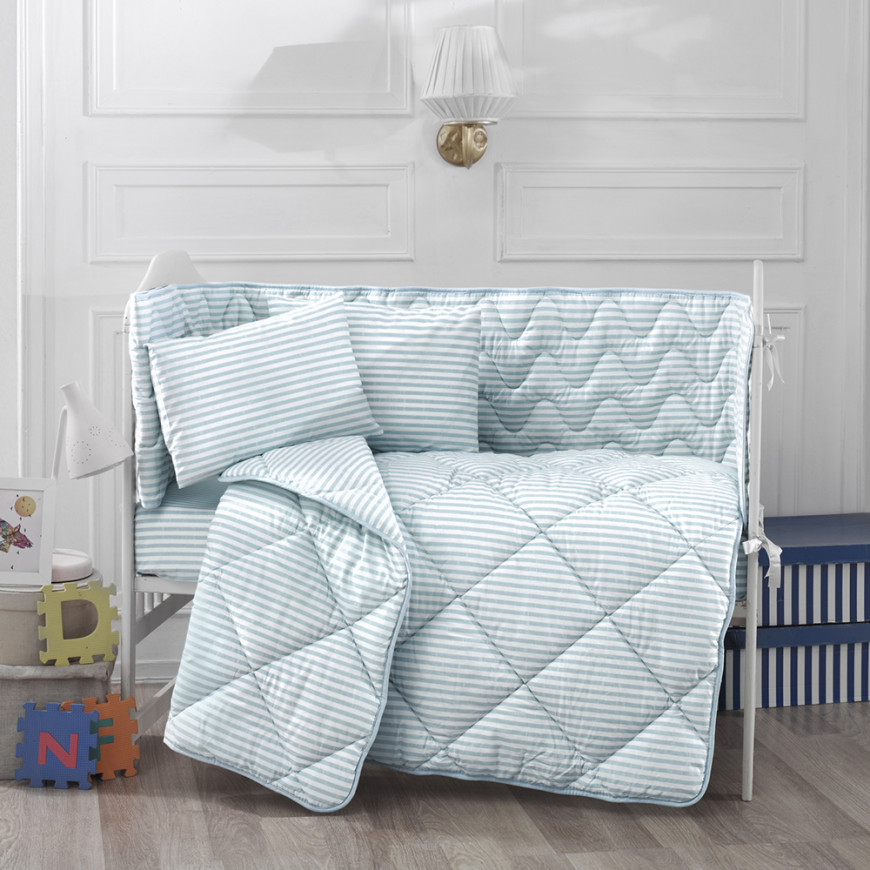 Newborn Alone Baby Crib Light Blue 5-piece set