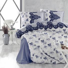 طقم غطاء لحاف أندروا مزدوج أزرق و أبيض عدد القطع 6