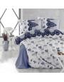 طقم غطاء لحاف أندورا مزدوج أزرق و أبيض عدد القطع 6