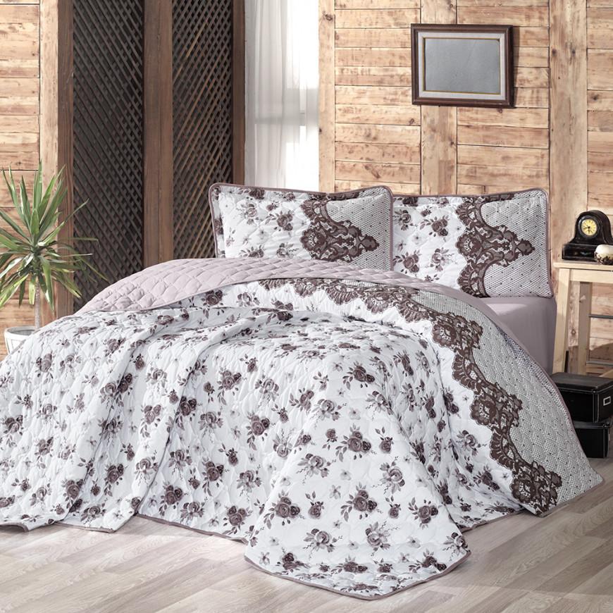 Andora Lightweight Summer Bedding Brown Double 4-piece Quilt Set