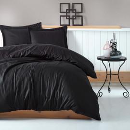 Hotel Stripe Bedding Cotton Double Black 9-piece Set
