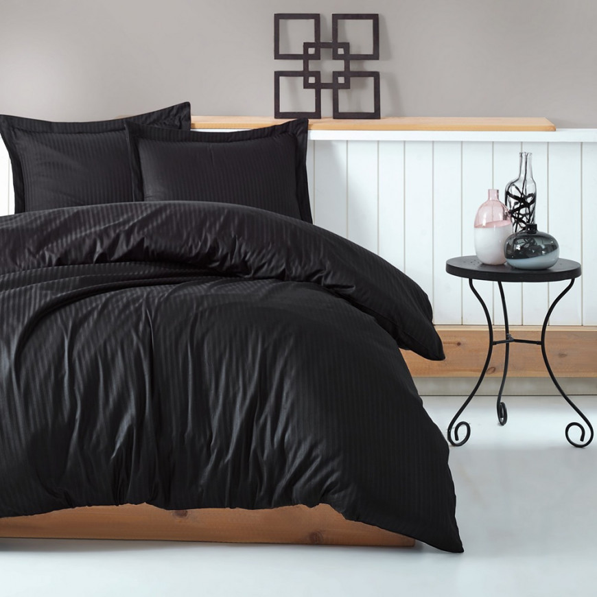 Hotel Stripe Bedding Cotton Double Black 9-piece Set