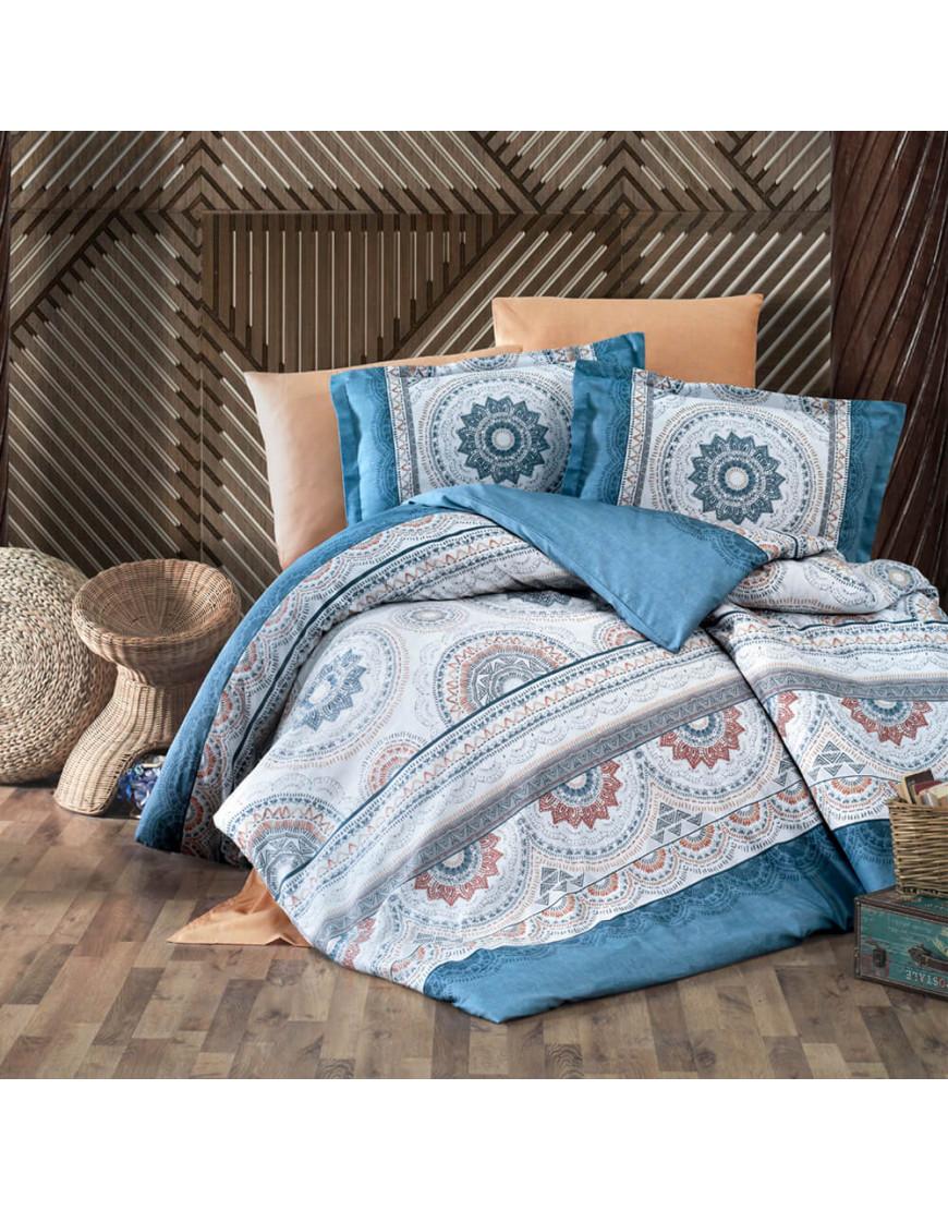 طقم غطاء لحاف كارميلا مزدوج أزرق و برتقالي مزخرف عدد القطع 6