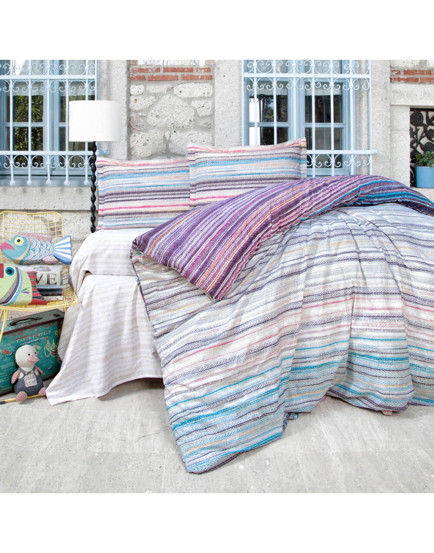 طقم غطاء لحاف أجيندا مزدوج متعدد الألوان عدد القطع 6