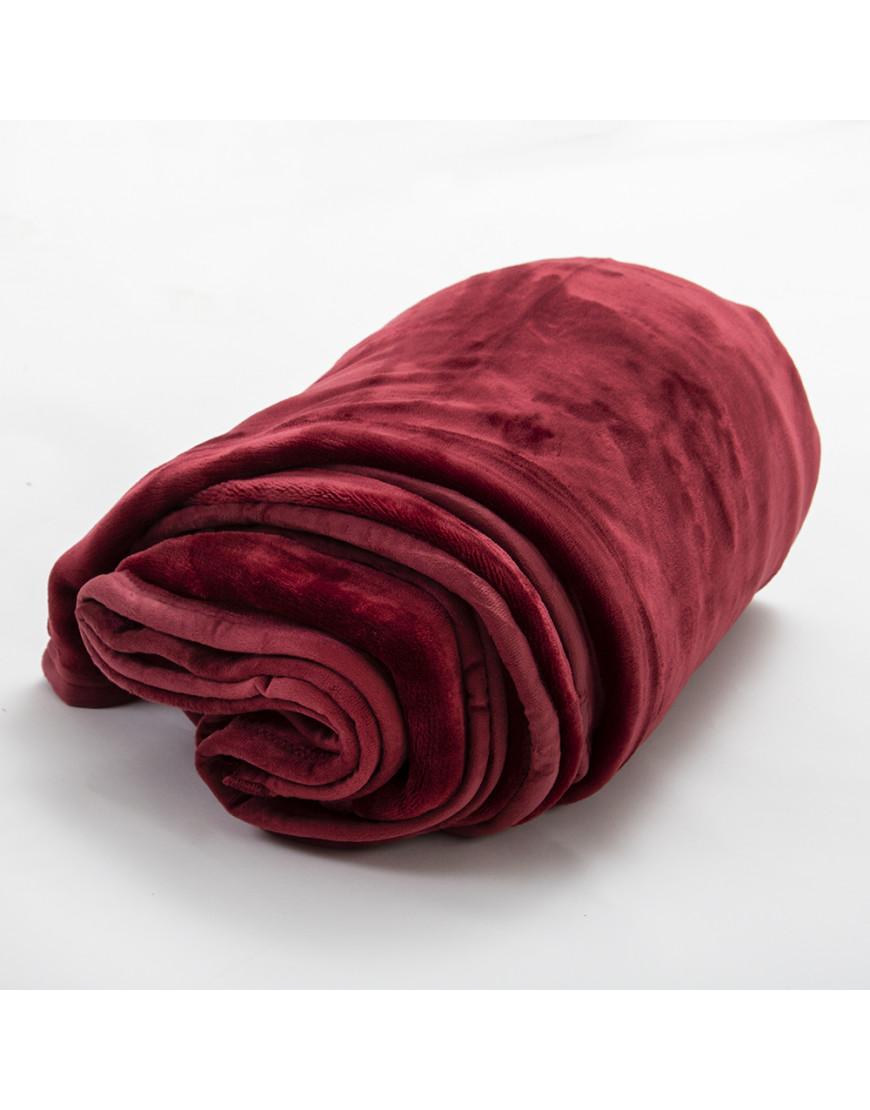 بطانية قطيفة مفرد ونص طبقتين عنابي