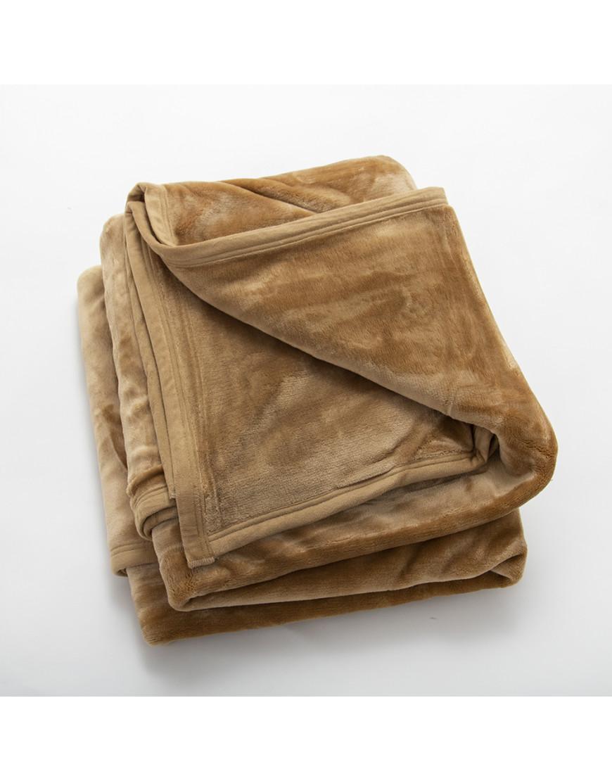 بطانية قطيفة مخملية طبقتين مزدوج عسلي
