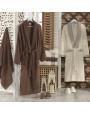 طقم أرواب استحمام اليزي بني و كريمي عدد القطع 10