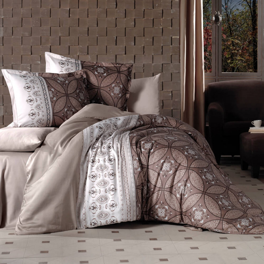 Ivore Paisley Brown Duvet Cover Double 6-Piese Set