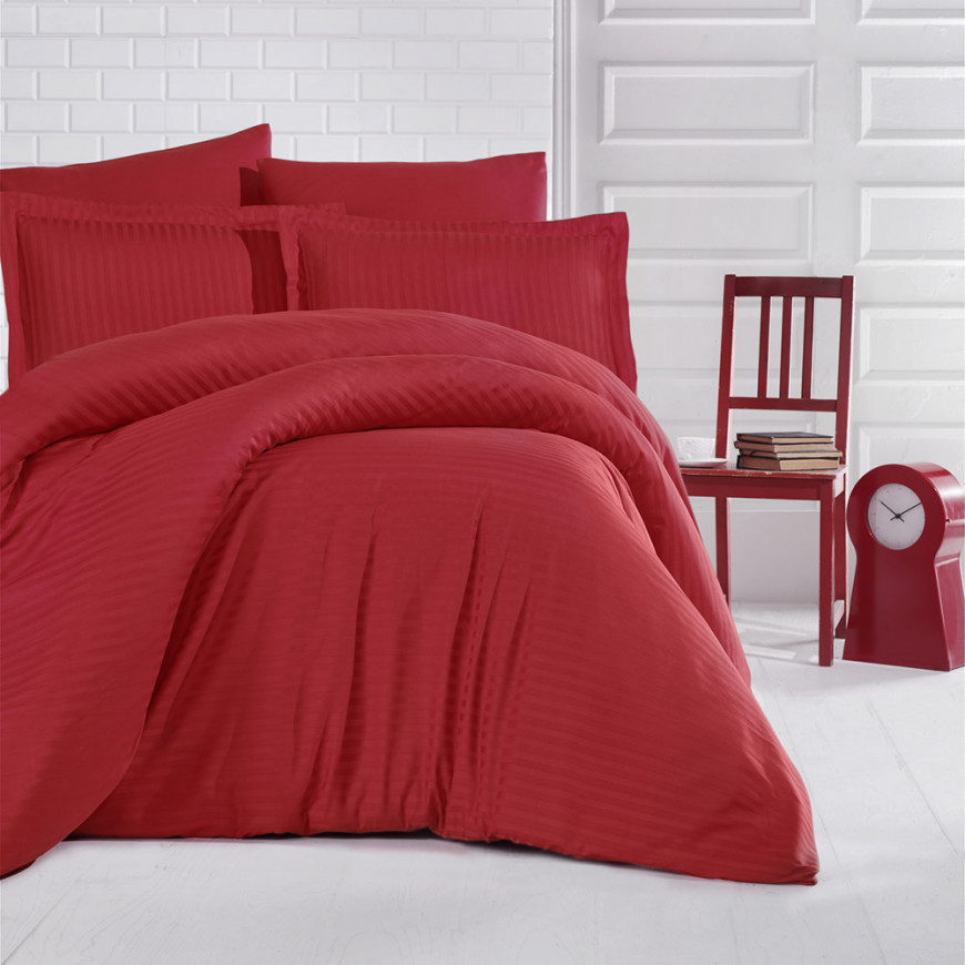 Hotel Stripe Bedding Cotton Double Red 9-piece Set