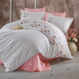Lare Embroidered Summer Bedding Pink And White Double 9-piece Set