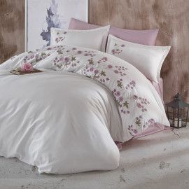 Lare Embroidered Summer Bedding White And Lila Double 9-piece Set