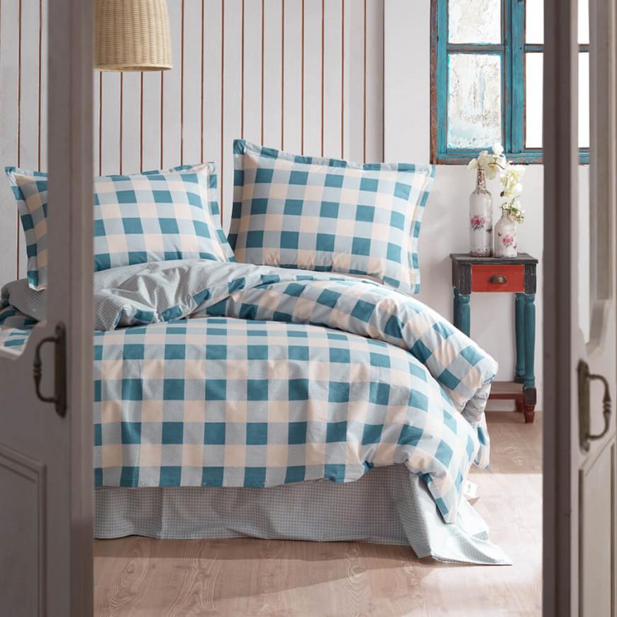 طقم غطاء لحاف ليما مزدوج أزرق و أبيض عدد القطع 6