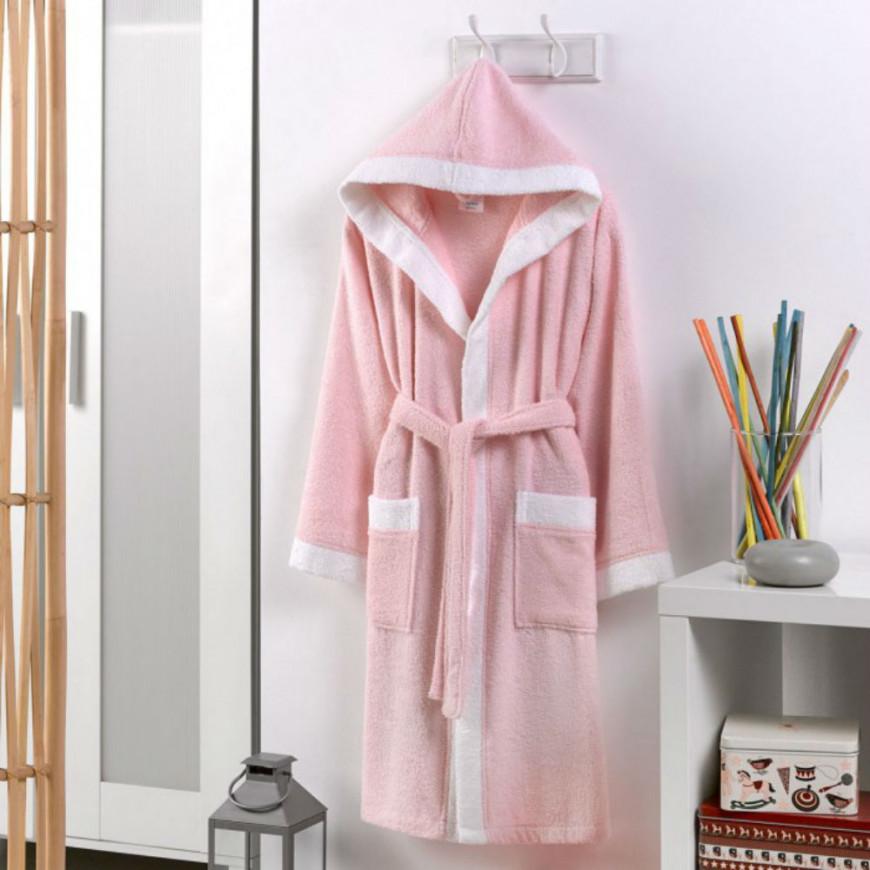 Hooded Kids Bath Robe Cotton Pink