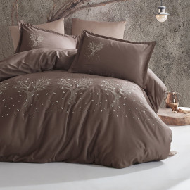 Satin Embroidered Summer Bedding Brown Double 9-piece Set